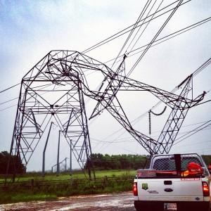 Twisted electrical tower (Oklahoma City, OK)